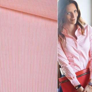 Поплін сорочковий в рожеву, білу смужку 1 * 1мм ш.145