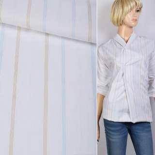 Поплін сорочковий білий в блакитну, бежеву смугу 18мм ш.145