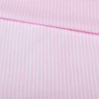 Поплін сорочковий рожевий в білу смугу 5 * 1 мм ш.145