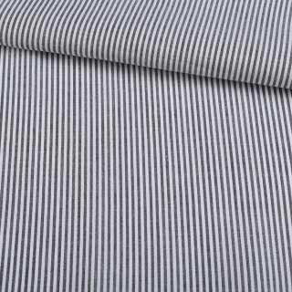 Поплін сорочковий в сіру, білу смугу 1 * 1мм ш.145