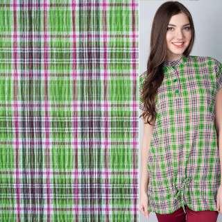 Ткань рубашечная зелено-малиновая клетка с метанитью жатая ш.150
