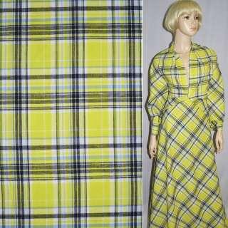 Ткань рубашечная лимонно-серая клетка ш.140