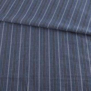 Тканина сорочкова * синя в чорно-блакитну смужку, ш.145