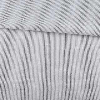 Тканина сорочкова * жата молочна в бежево-сірі смужки, ш.147