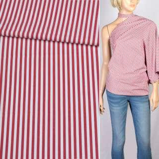 Вискоза рубашечная белая в красную полоску 4мм, ш.147