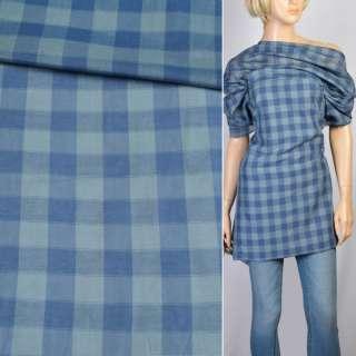 Бавовна сорочковий в синьо-сіру клітку, ш.150