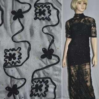 Сітка стрейч чорна з настрочені чорними кольорами і намистинами