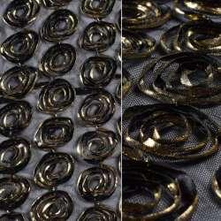 стр-сетка черная с золотыми цветами, ш.140