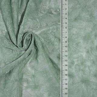 Сетка трикотажная жатая зеленая с серебряной метанитью