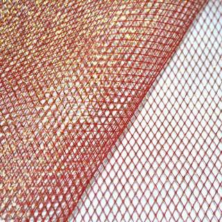 сетка красная с золот. люрексом (жесткая, крупная) ш.160