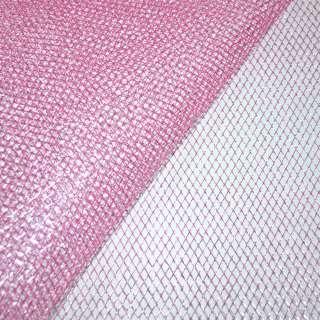 Сетка розовая с серебряным люрексом (жесткая, крупная) ш.150
