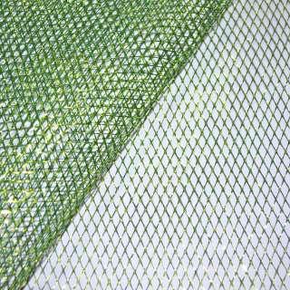 Сетка зеленая с золотым люрексом (жесткая, крупная) ш.160