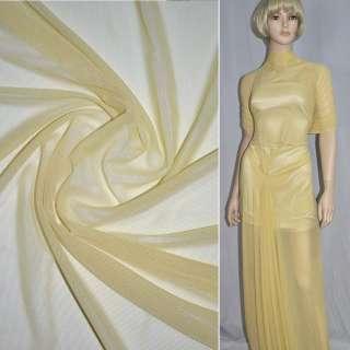 Сетка стрейчевая плотная желтая светлая ш.160