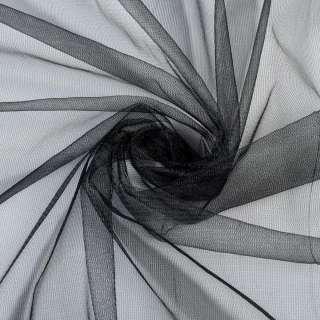 Сетка трикотажная прозрачная  мягкая черная, ш.155