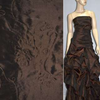 Тафта вышитая шнуром темно коричневая
