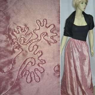 Тафта вышитая шнуром бледно-розовая