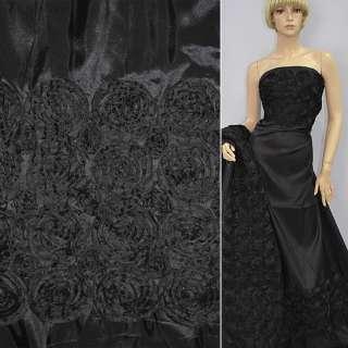 Тафта черная,двухсторонний купон с розами ш.145