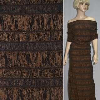 Тафта со стрейч резинкой коричневая темная