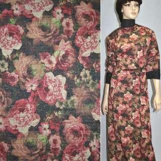 Джерсі чорне з бордово-бежевими квітами з блискітками ш.156