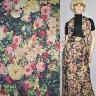 Джерси черное с бежево-розовыми цветами с блестками ш.158