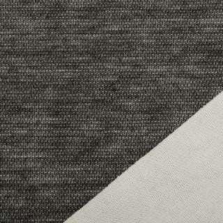 Трикотаж костюмний двосторонній молочний / чорний меланж, ш.150