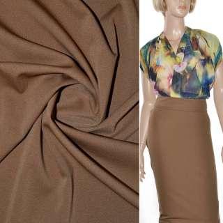 Трикотаж костюмный стрейч облегченный коричневый светлый ш.160