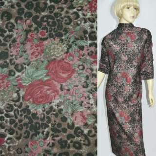 Джерси коричнево черный принт леопард бордовые розы ш.150