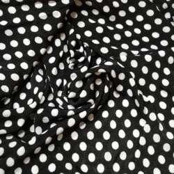 Трикотаж черный в белый горох ш.150