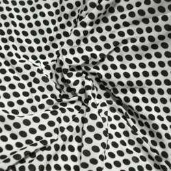 Трикотаж белый в черный горох ш.150