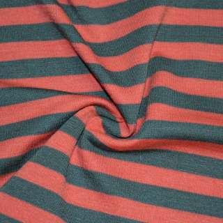 Трикотаж червоний в сірі смужки ш.172