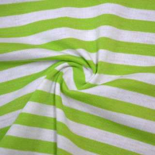 Трикотаж молочный в зеленые полоски ш.175