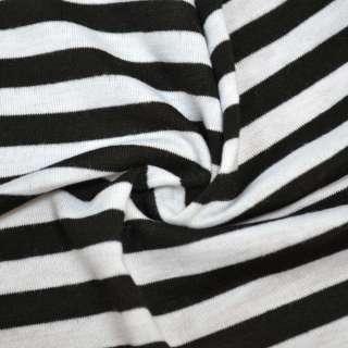 Трикотаж белый в черные полоски ш.180