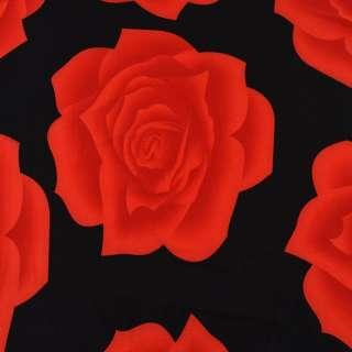 Трикотаж черный с красными розами ш.150