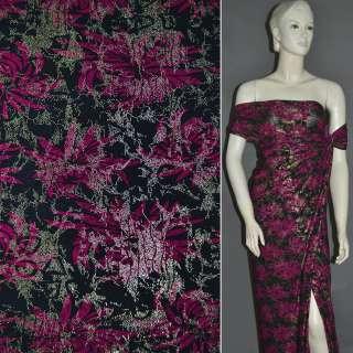 Трикотаж черный с малиновыми цветами и блестками ш.150