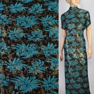 Трикотаж черный с синими цветами и блестками ш.150