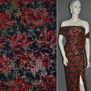 Трикотаж черный с красными цветами и блестками ш.150