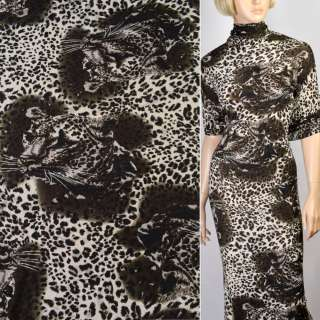 Трикотаж темно коричневый с мордами принт леопарда ш.160