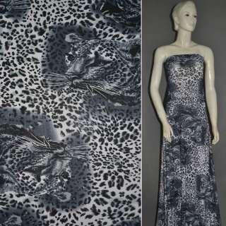 Трикотаж серый с мордами принт леопарда ш.160