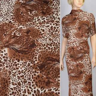 Трикотаж светло коричневый с мордами принт леопарда ш.160