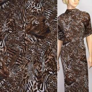 Трикотаж коричневый с мордами принт леопарда ш.160