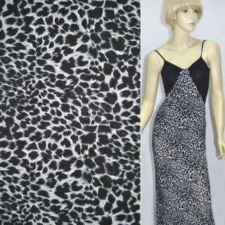 Трикотаж серый с принтом леопард ш.160