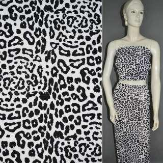 Трикотаж белый с черным принтом леопард ш.160