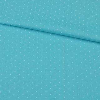 Трикотаж голубой с выстроченными ромбами и белыми точками ш.160