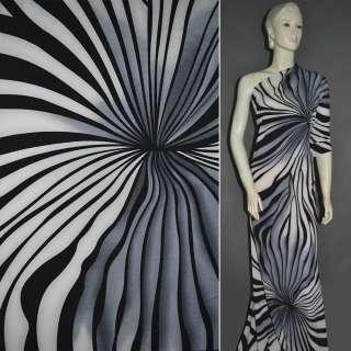 Трикотаж в большие серо бело черные полосы зебры ш.160