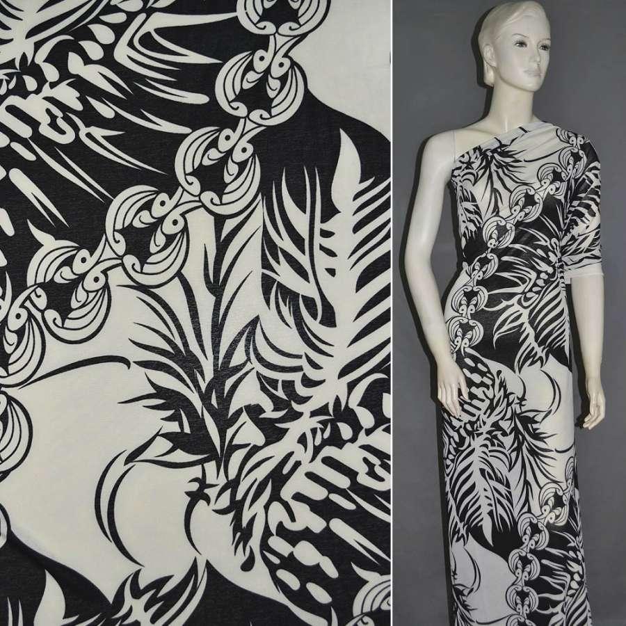 Трикотаж бело черный с орнаментом ш.160