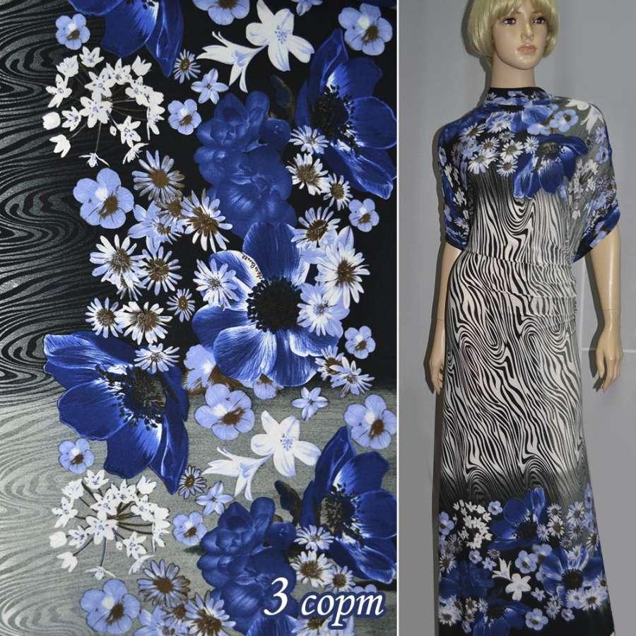 Трикотаж,двухсторонний купон в синие цветы ш.160