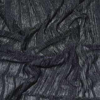 Трикотаж тонкий чорний в чорну смужку ш.160