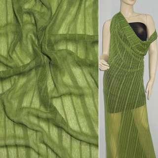 Трикотаж зелений світлий в зелену смужку ш.160