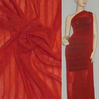 Трикотаж красный в красную полоску ш.160