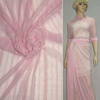 Трикотаж рожевий в рожеву смужку ш.160